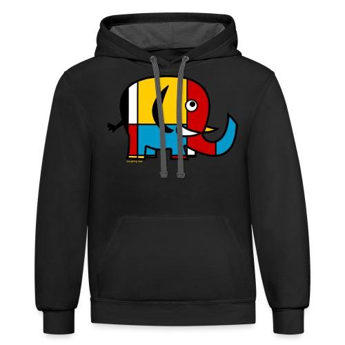 Mondrian Elephant Kids T-Shirt - Contrast Hoodie