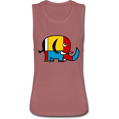 Mondrian Elephant Kids T-Shirt - Women's Flowy Muscle Tank by Bella