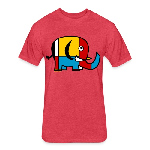 Mondrian Elephant Kids T-Shirt - Fitted Cotton/Poly T-Shirt by Next Level