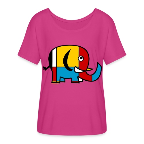Mondrian Elephant Kids T-Shirt - Women's Flowy T-Shirt