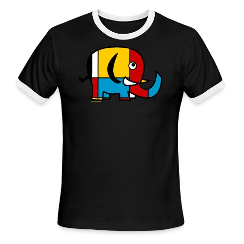 Mondrian Elephant Kids T-Shirt - Men's Ringer T-Shirt