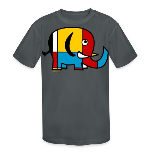 Mondrian Elephant Kids T-Shirt - Kids' Moisture Wicking Performance T-Shirt