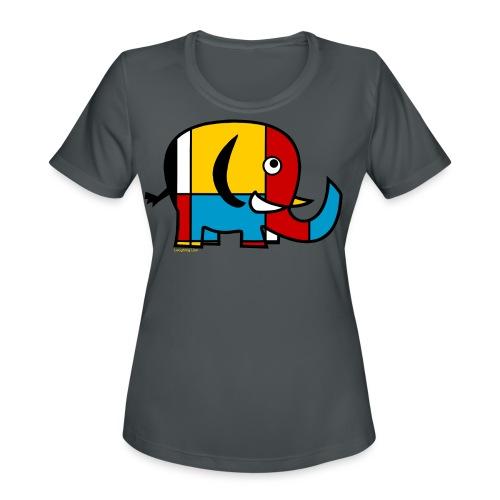Mondrian Elephant Kids T-Shirt - Women's Moisture Wicking Performance T-Shirt
