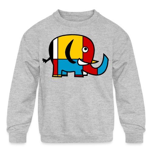 Mondrian Elephant Kids T-Shirt - Kid's Crewneck Sweatshirt