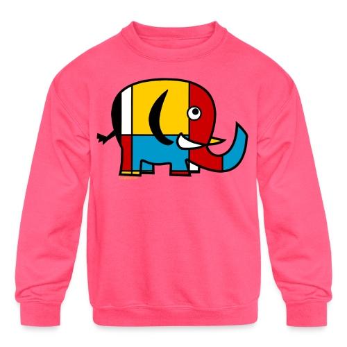 Mondrian Elephant Kids T-Shirt - Kids' Crewneck Sweatshirt