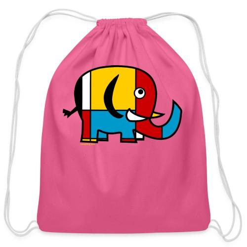 Mondrian Elephant Kids T-Shirt - Cotton Drawstring Bag