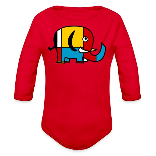 Mondrian Elephant Kids T-Shirt - Organic Long Sleeve Baby Bodysuit