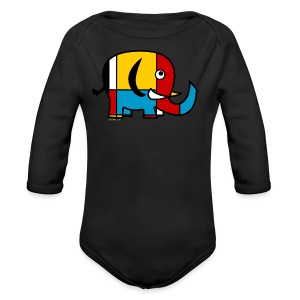 Mondrian Elephant Kids T-Shirt - Long Sleeve Baby Bodysuit