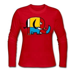 Mondrian Elephant Kids T-Shirt - Women's Long Sleeve Jersey T-Shirt