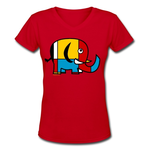 Mondrian Elephant Kids T-Shirt - Women's V-Neck T-Shirt