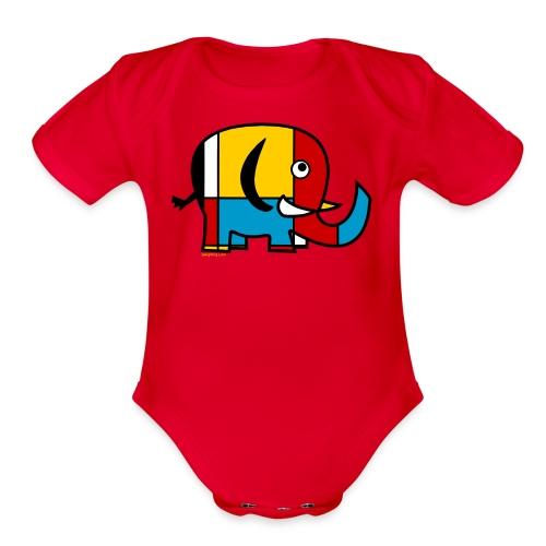 Mondrian Elephant Kids T-Shirt - Organic Short Sleeve Baby Bodysuit