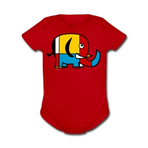 Mondrian Elephant Kids T-Shirt - Short Sleeve Baby Bodysuit