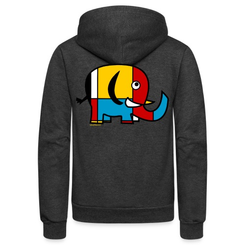 Mondrian Elephant Kids T-Shirt - Unisex Fleece Zip Hoodie