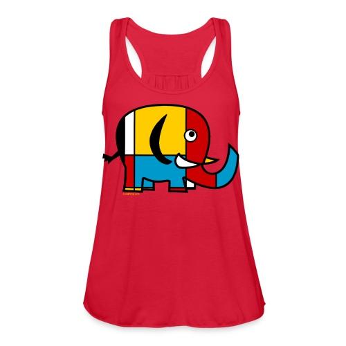 Mondrian Elephant Kids T-Shirt - Women's Flowy Tank Top by Bella