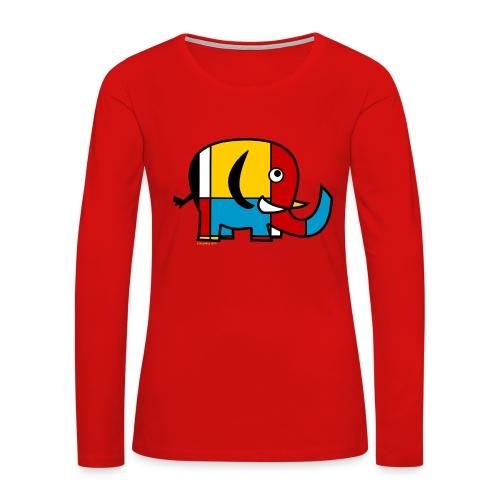Mondrian Elephant Kids T-Shirt - Women's Premium Long Sleeve T-Shirt