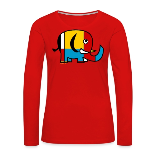 Mondrian Elephant Kids T-Shirt - Women's Premium Long Sleeve T-Shirt