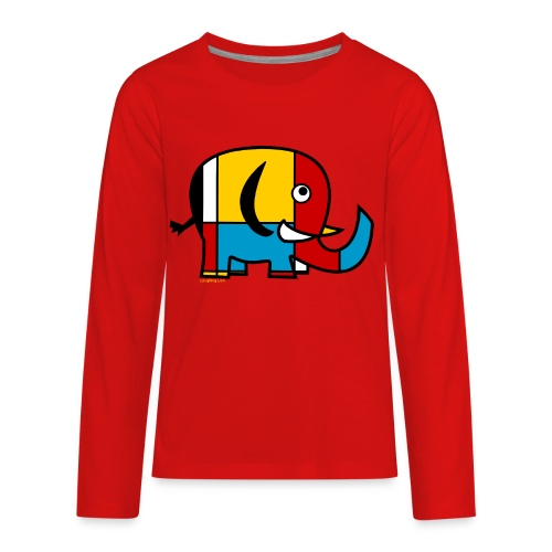 Mondrian Elephant Kids T-Shirt - Kids' Premium Long Sleeve T-Shirt