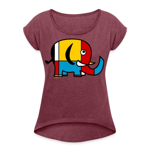 Mondrian Elephant Kids T-Shirt - Women's Roll Cuff T-Shirt