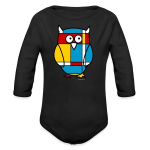 Mondrian Owl Kids T-Shirt - Long Sleeve Baby Bodysuit