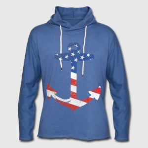 American Flag Anchor T-Shirts - Unisex Lightweight Terry Hoodie