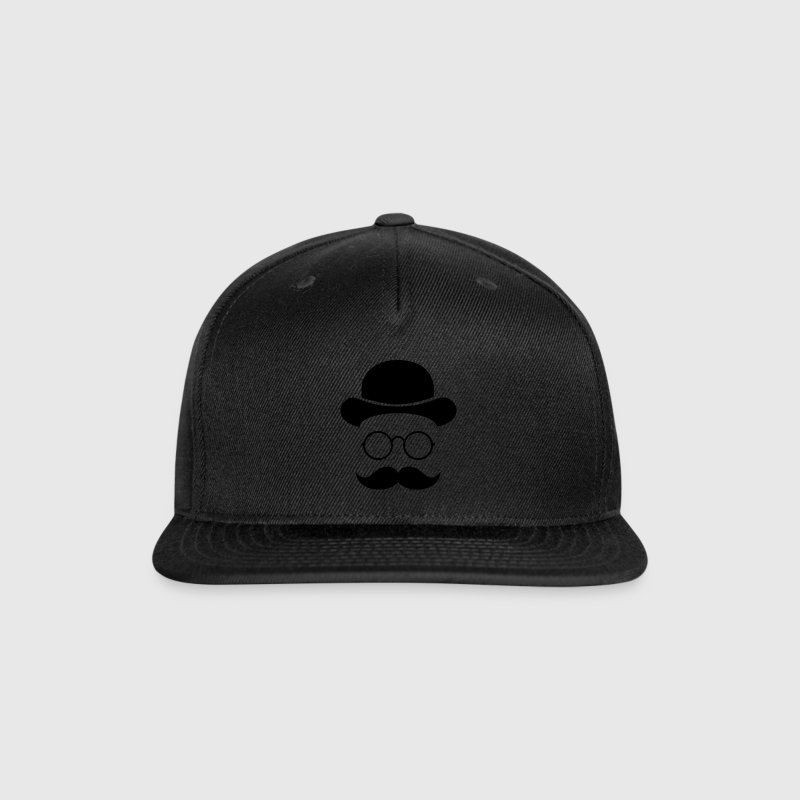 Funny vintage face with Moustache & Glasses Caps - Snap-back Baseball Cap