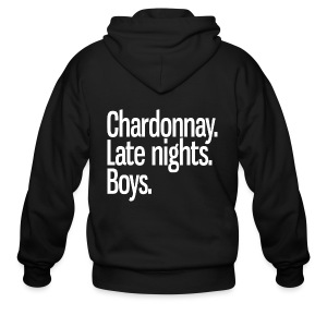 Chardonnay. Late nights. Boys. - Men's Zip Hoodie