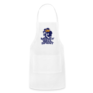 Money Well Spent - Ladies V-Neck - Dark Design - Adjustable Apron