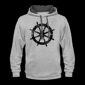 Wheel Vintage Sailing T-Shirt (Men Gray/Black) - Contrast Hoodie