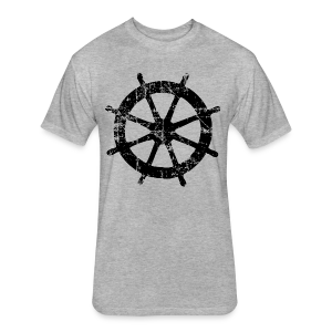 Wheel Vintage Sailing T-Shirt (Men Gray/Black) - Fitted Cotton/Poly T-Shirt by Next Level
