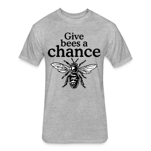 Give Bees A Chance T-Shirt (Men/Gray) - Fitted Cotton/Poly T-Shirt by Next Level