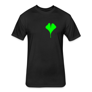 Gingko leaf t-shirt (Men Black) - Fitted Cotton/Poly T-Shirt by Next Level