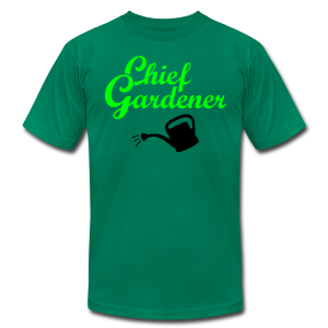 Garden T-Shirt Chief Gardener Watering (Men Green/White) - Men's T-Shirt by American Apparel
