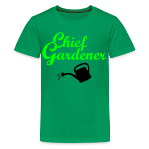Garden T-Shirt Chief Gardener Watering (Men Green/White) - Kids' Premium T-Shirt