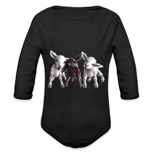 Three little cheeky sheep - Organic Long Sleeve Baby Bodysuit