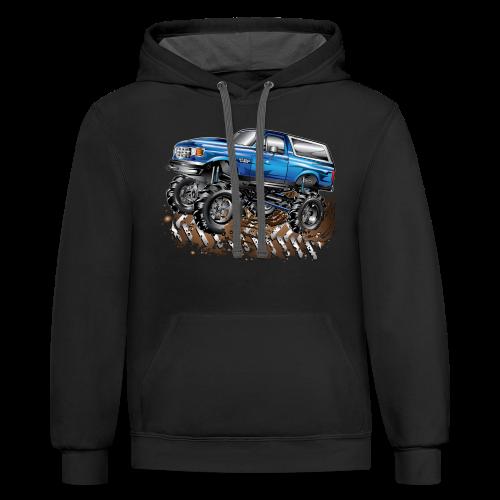 Blue Ford Bronco Mud Truck Shirt - Contrast Hoodie
