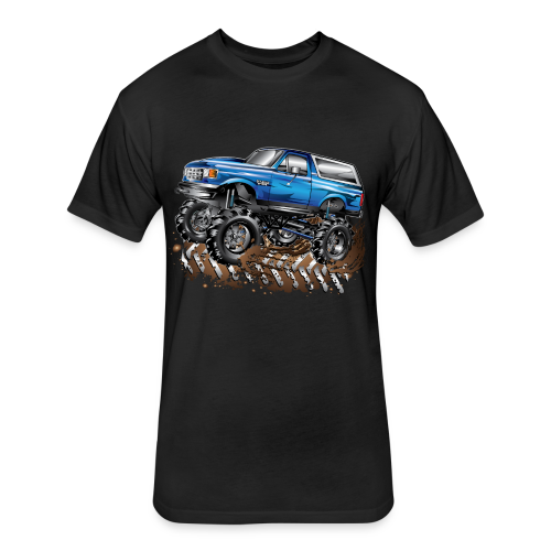Blue Ford Bronco Mud Truck Shirt - Fitted Cotton/Poly T-Shirt by Next Level
