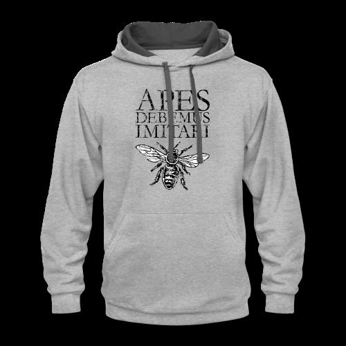 Vintage Beekeeper T-Shirt 'APES DEBEMUS IMITARI' (Women Gray) - Contrast Hoodie