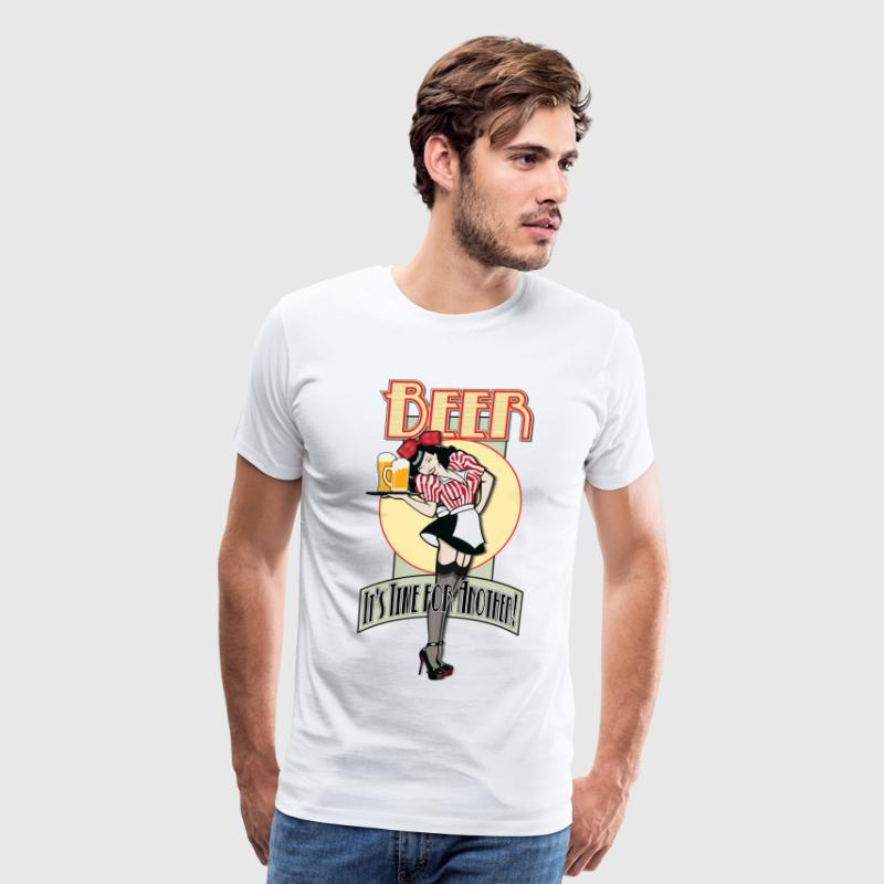 Vintage Pin-up Style Waitress Serving Beer - Men's Premium T-Shirt