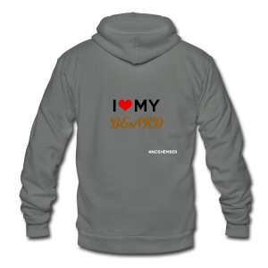 Dude's T-Shirt - I heart my beard - Unisex Fleece Zip Hoodie by American Apparel