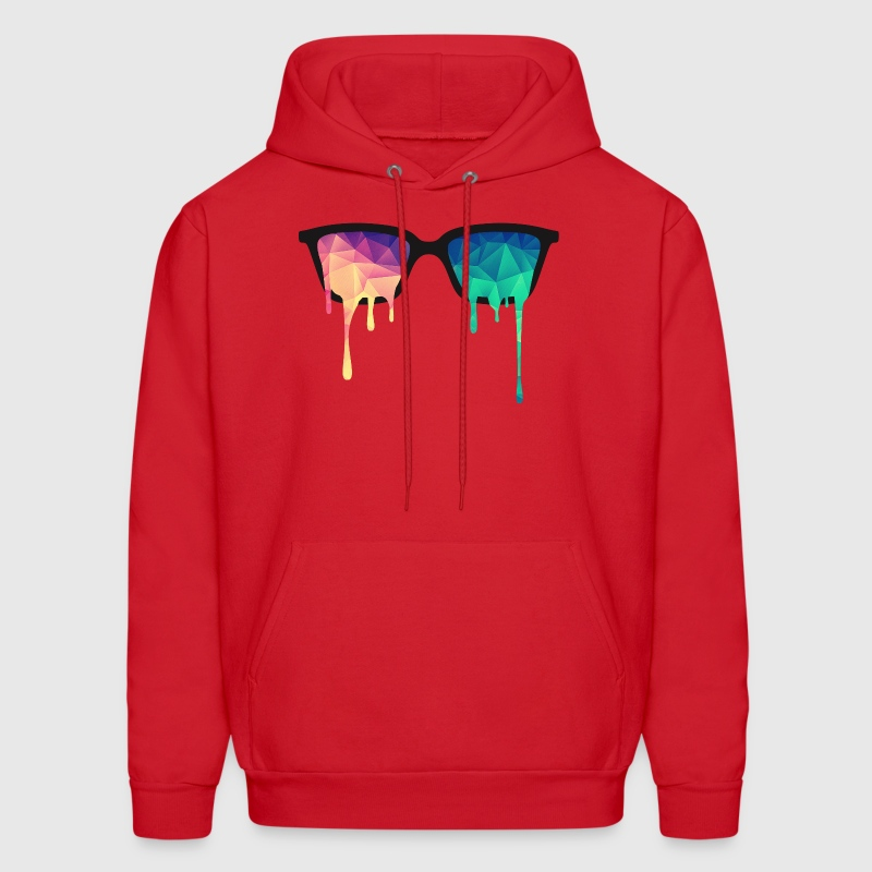 Abstract Psychedelic Nerd Glasses with Color Drops Hoodies - Men's Hoodie
