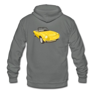 Yellow Alfa Romeo Spider illustration - Unisex Fleece Zip Hoodie by American Apparel