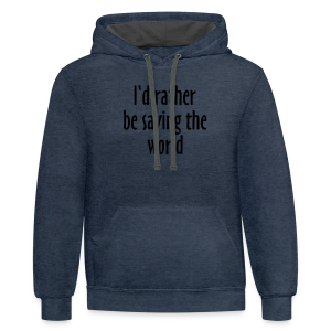 Saving The World T-Shirt (Women Purple&White) - Contrast Hoodie