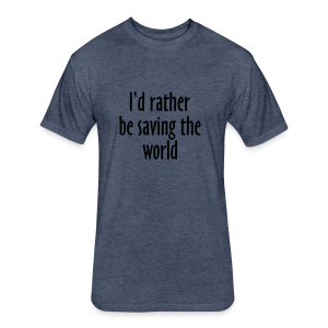 Saving The World T-Shirt (Women Purple&White) - Fitted Cotton/Poly T-Shirt by Next Level