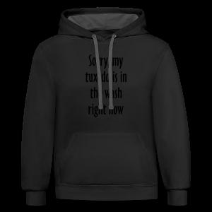 Tuxedo Wash Slogan T-Shirt (Black/White) - Contrast Hoodie