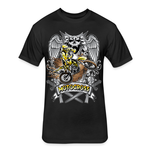 Heraldic Motocross Sports - Fitted Cotton/Poly T-Shirt by Next Level