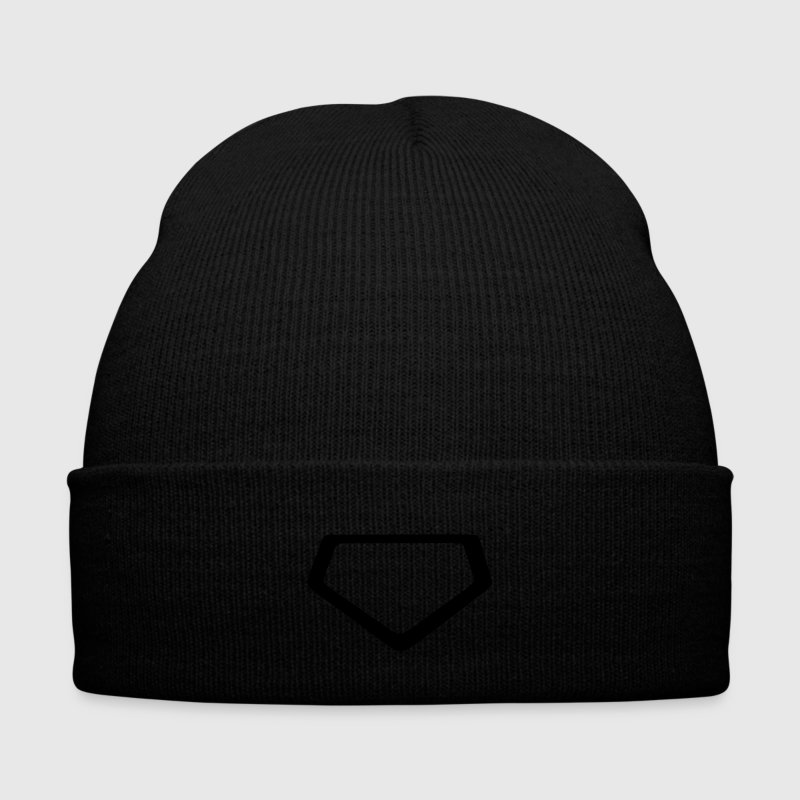Baseball Beanie with home plate logo - Knit Cap with Cuff Print