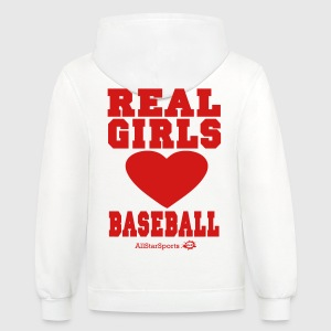 REAL GIRLS LOVE BASEBALL Women's T-Shirts - Contrast Hoodie