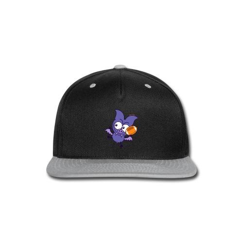 Purple Bat Playing Football Long Sleeve Shirts - Snap-back Baseball Cap