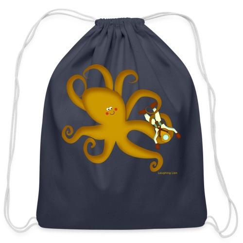 Octopus & Diver - Cotton Drawstring Bag