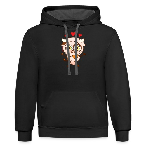 Cute cow falling madly in love Long Sleeve Shirts - Contrast Hoodie